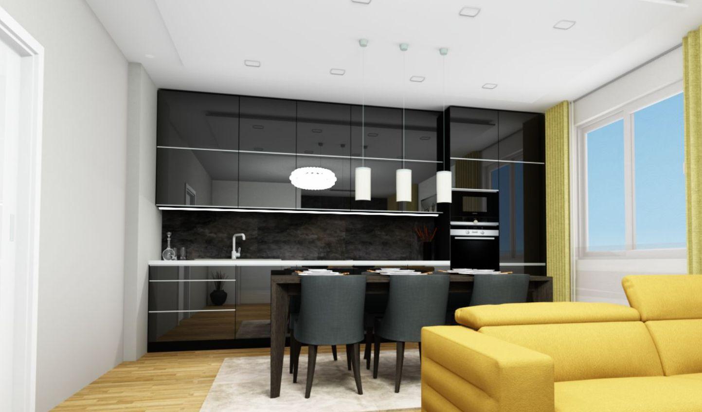 Grafický návrh, kuchyně - černý lak