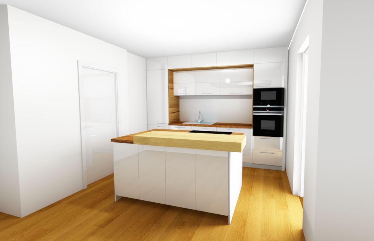 Grafický návrh, kuchyně, bílá - dřevo