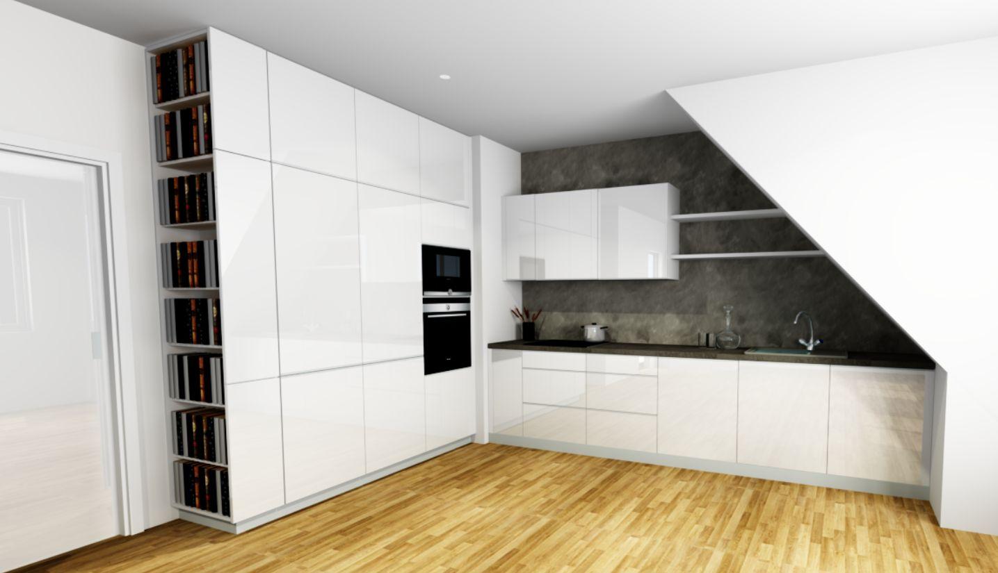 Vizualizace, kuchyně - bílý lak, masivní podlaha