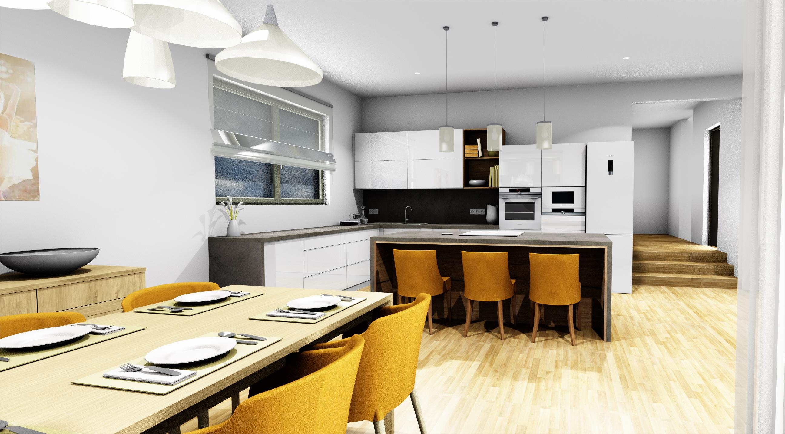 Vizualizace kuchyně, bílý lak v kombinaci s imitací betonu